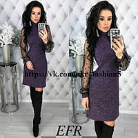 Ангоровое платье с красивыми рукавами