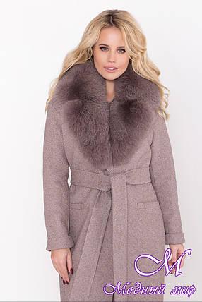 Женское длинное зимнее пальто с натуральным мехом (р. S, M, L) арт. В-83-73/44574, фото 2