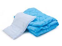 Детский комплект одеяло 105х145  и подушка 40х60 голубой
