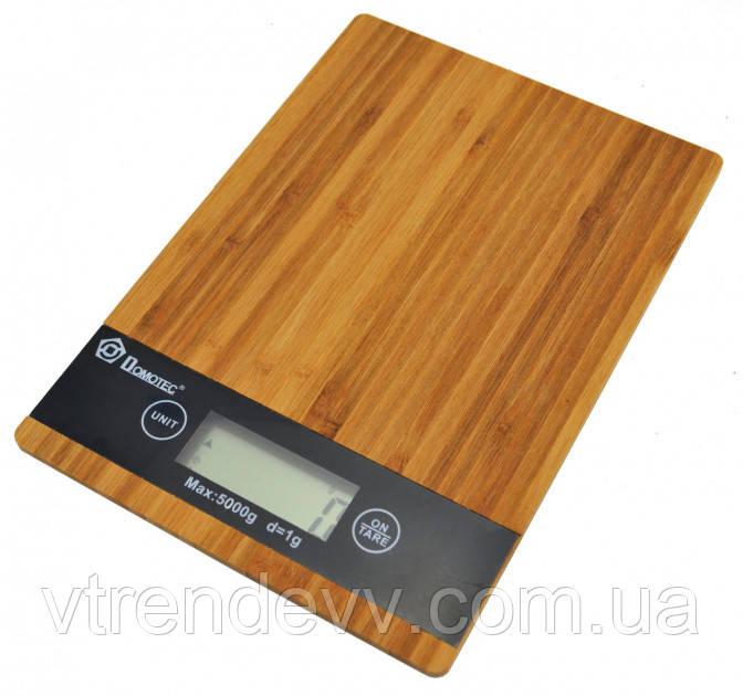 Весы кухонные электронные Domotec MS-А бамбуковые с LCD дисплеем