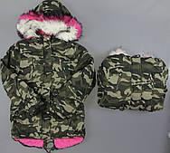 Куртка на хутрі для дівчаток S&D , 8-16 років. Артикул: KF101
