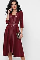 Женское платье с вставками экокожи, фото 1