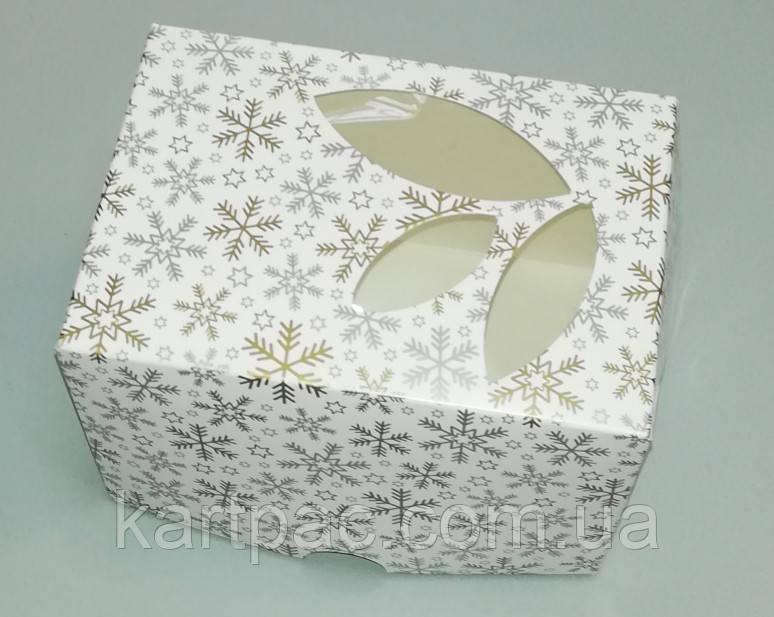 Коробка для упаковки одного тістечка 120*85*90 (з віконцем) зима