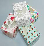 Коробка для упаковки одного тістечка 120*85*90 (з віконцем) зима, фото 3