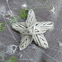 Елочная игрушка ЗВЕЗДА новогодняя в эко-стиле серебряная декорирована # 1 8х8см, фото 1