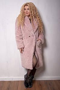 Женская эко шуба teddy bear больших размеров 52-56 розовая