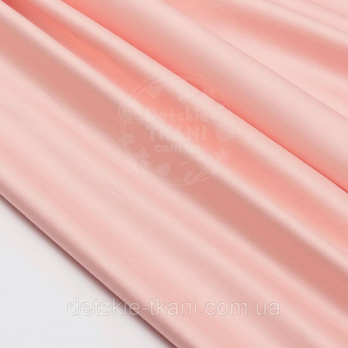 Лоскут сатина цвет бежевая пудра (№1531с), размер 39*120 см