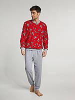 Мужская пижама с новогодним принтов (утепленная), фото 1