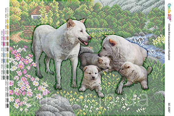 """А3 """"Сімейство вовків"""". Схема для часткової вишивки бісером"""