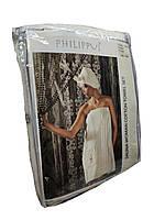 Женский набор в баню , сауну Турция махровый Philippus хлопок Кремовый