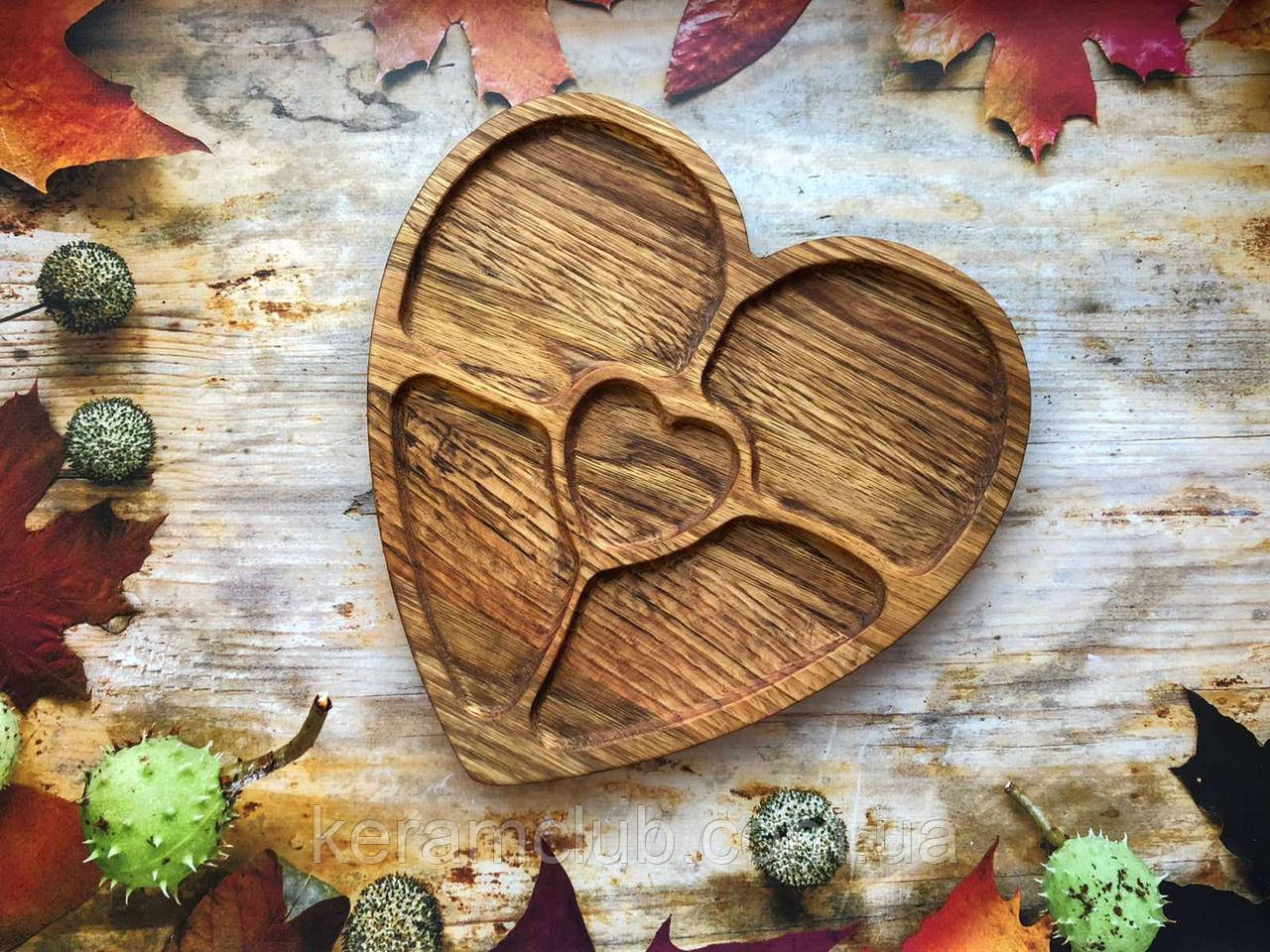Дубовая менажница Керамклуб Сердце 25 см