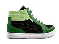Кеды кожаные завышенные зеленого цвета на шнуровке