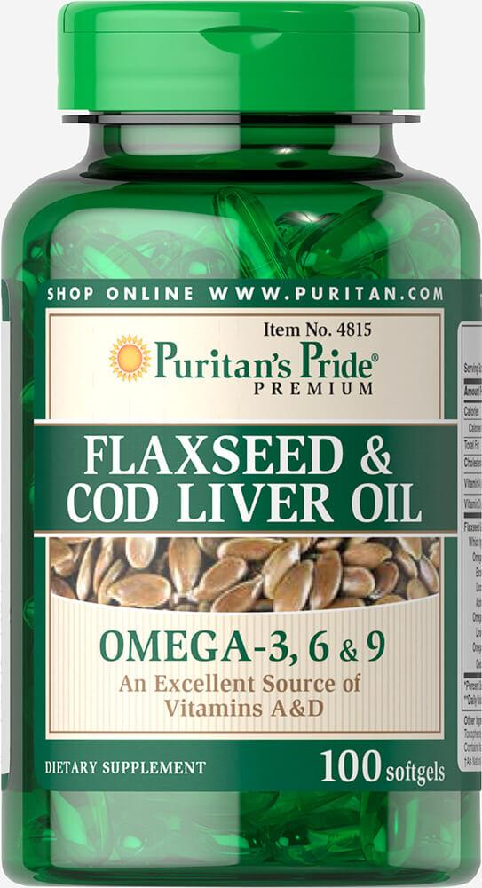 Для сердечно-сосудистой системы Puritan's Pride - Flaxseed & Cod liver Oil (100 капсул)