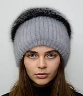 Зимняя норковая шапка с бубоном Стрекоза разрез, фото 1