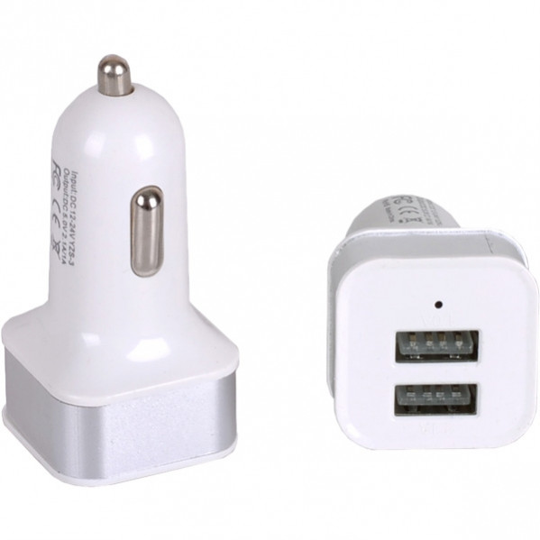 Автомобильный 2-USB адаптер 2.1 А/1.0 А квадрат