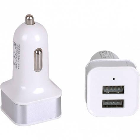 Автомобильный 2-USB адаптер 2.1 А/1.0 А квадрат, фото 2