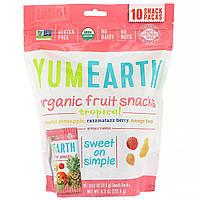 Органические фруктовые снеки, тропические фрукты, 10 упаковок, 17,6 г в каждой YumEarth