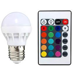 Світлодіодна лампа RGB SL736 3W Р50 E27 з пультом 220V Код.59292