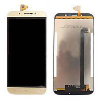 Дисплей (экран) для S-TELL M555 с сенсором (тачскрином) золотистый Оригинал