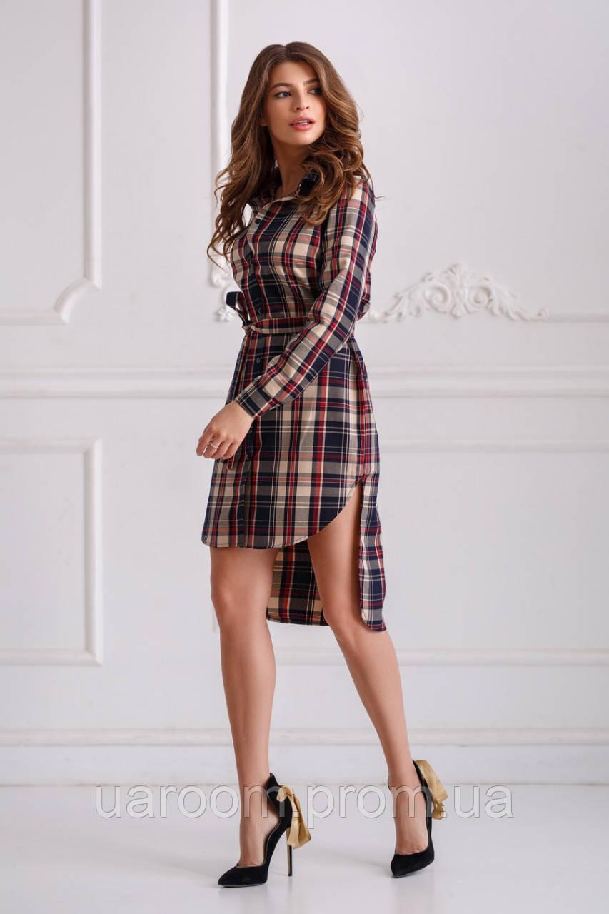 Жіноча сукня-сорочка в клітку №535