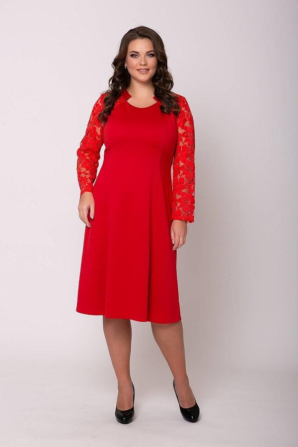 Яркое женское платье Джудит красный (54-60)