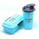 Набор ланч бокс и бутылка для детей в школу - голубой, фото 2