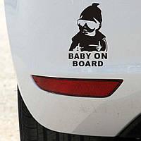 """Предупреждающая, светоотражающая наклейка """"Baby on board"""" №3 черная маленькая"""