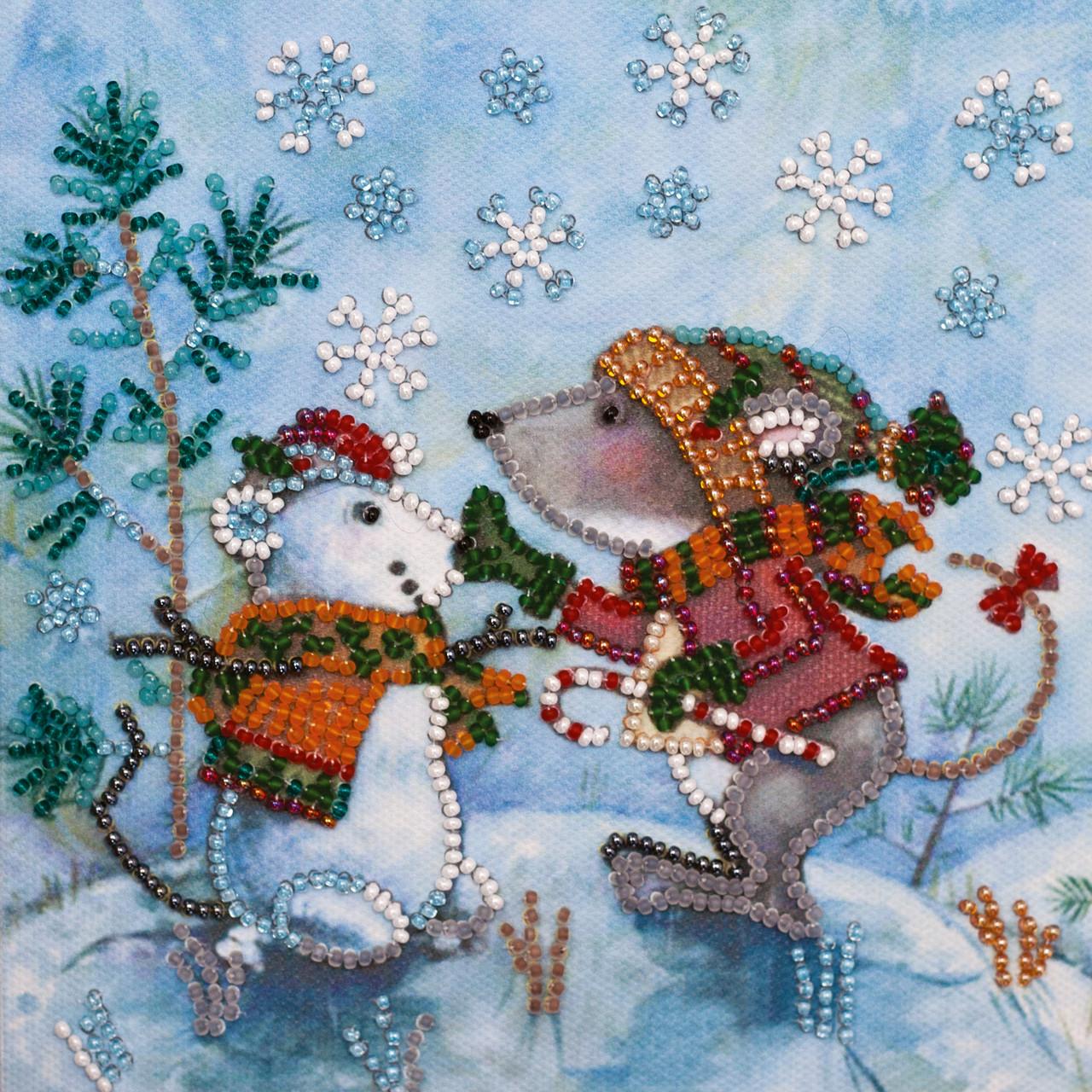 Набор для вышивки бисером Мини Снежный друг (15 х 15 см) Абрис Арт AM-212