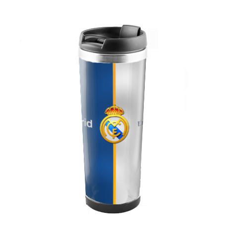 Термокружка для напитков Real Madrid нержавеющая сталь бело-синяя