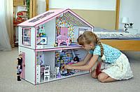 """Деревянный дом для кукол с мебелью и текстилем """"Волшебный Коттедж """""""