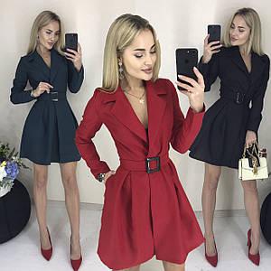 Короткое платье на запах и с поясом /разные цвета, 42-46, ft-420/