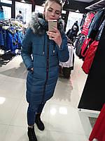 Жіноча тепла зимова куртка на силіконі, з капюшоном, знімне еко-хутро, від виробника, розміри 42-50