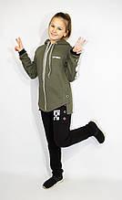 Подростковый теплый спортивный костюм для девочки с начесом Off White р. 146-170 опт
