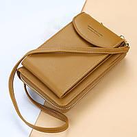 Сумка для телефону Baellerry forever через плече Коричневий, жіночий клатч-гаманець, фото 1