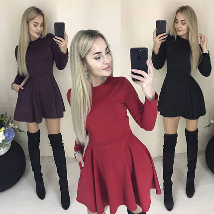 Платье лаконичного кроя с юбкой клеш /разные цвета, 42-46, ft-421/, фото 2