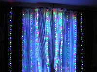 """Гирлянда-штора электрическая на 280 Led больших матовых светодиодов """"Водопад"""" мультицвет 3*2 м"""