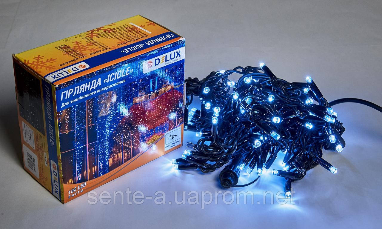 Гирлянда внешняя DELUX ICICLE 108 LED бахрома 2x1m 27 flash белый/черный IP44 EN