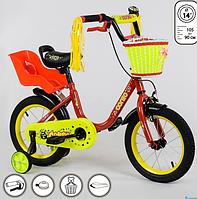 Велосипед для девочки с сиденьем для куклы Corso 14 дюймов Красный