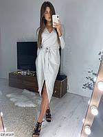 Блестящее платье на запах ниже колена, фото 1