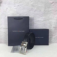 Ремень мужской кожаный черный двухсторонний модный стильный Tommy Hilfinger, фото 1