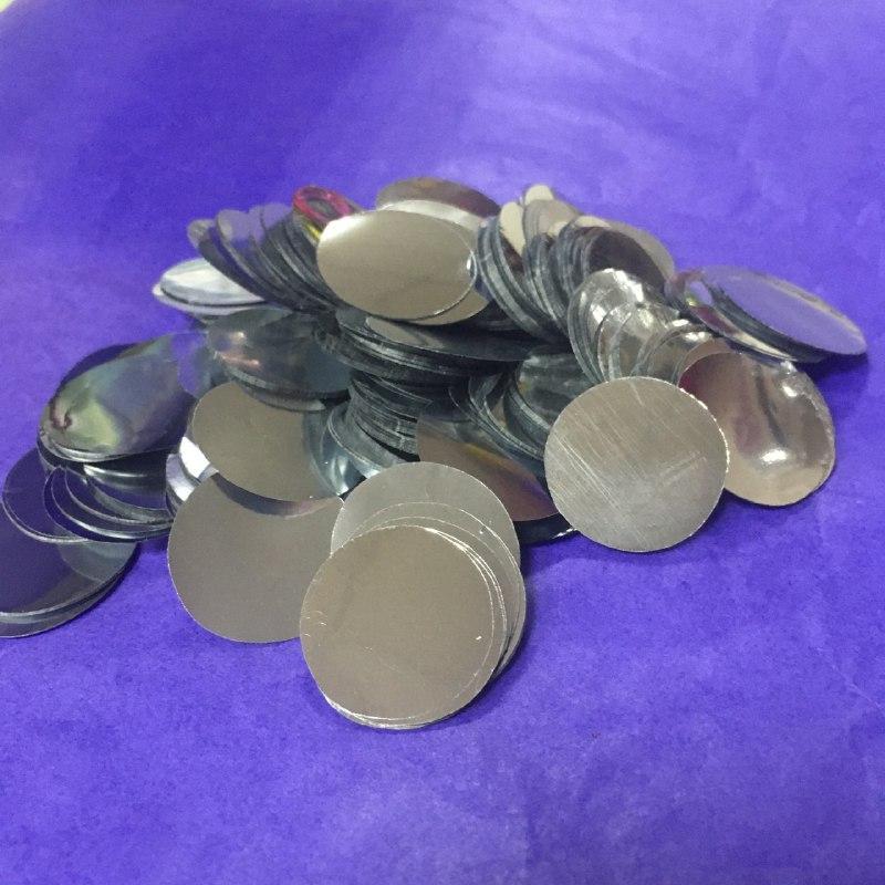 Аксесуари для свята конфеті Кружечки срібні 23 мм х 23 мм 100 грам