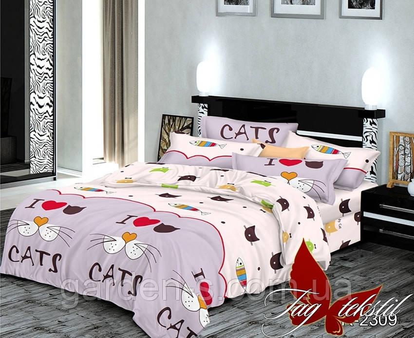 Комплект постельного белья с котиками ТМ TAG 1,5 спальный комплект