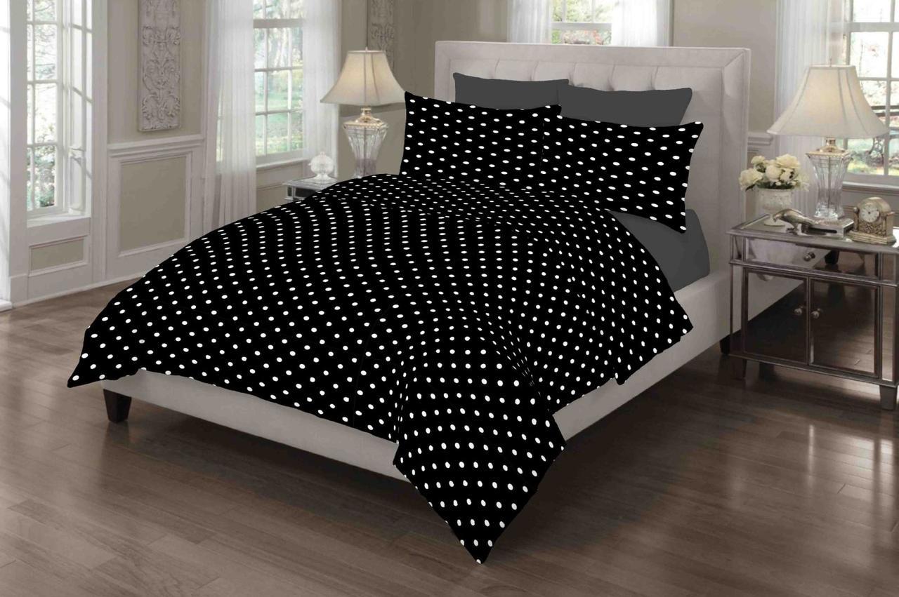 Комплект постельного белья от производителя Горох на черном из Ранфорс