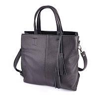 Кожаная сумка М243 black черная деловая с ручками и ремешком через плечо, фото 1