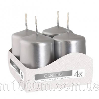 Комплект серебряных свечей Bispol Цилиндр 4х6 см. (4 шт.) 27367