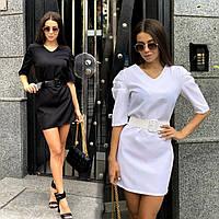 Стильное женское платье мини /42-46, черный, белый, ft-430/