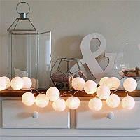 Ночник гирлянда-хлопковые фонарики 20 шаров (3,20м) белый