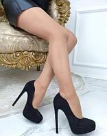 Туфли-лодочки женские на шпильке, черные, материал - эко-замша, код FN-24933