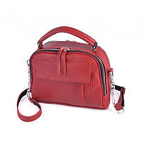 Кожаная красная женская сумка портфельчик через плечо маленькая кросс-боди, фото 1
