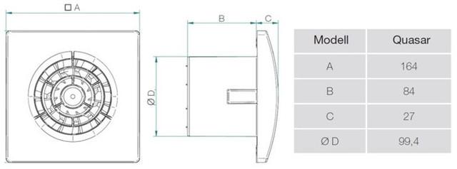Размеры и вес вытяжного вентилятора